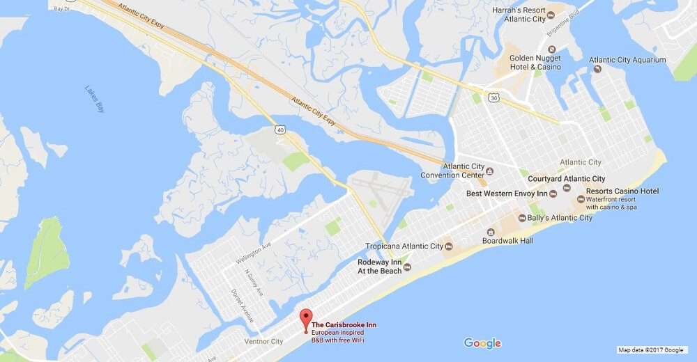 Area Map Atlantic City Bed And Breakfast
